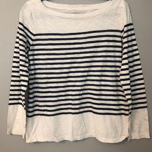 LOFT - navy blue striped cotton shirt - XL